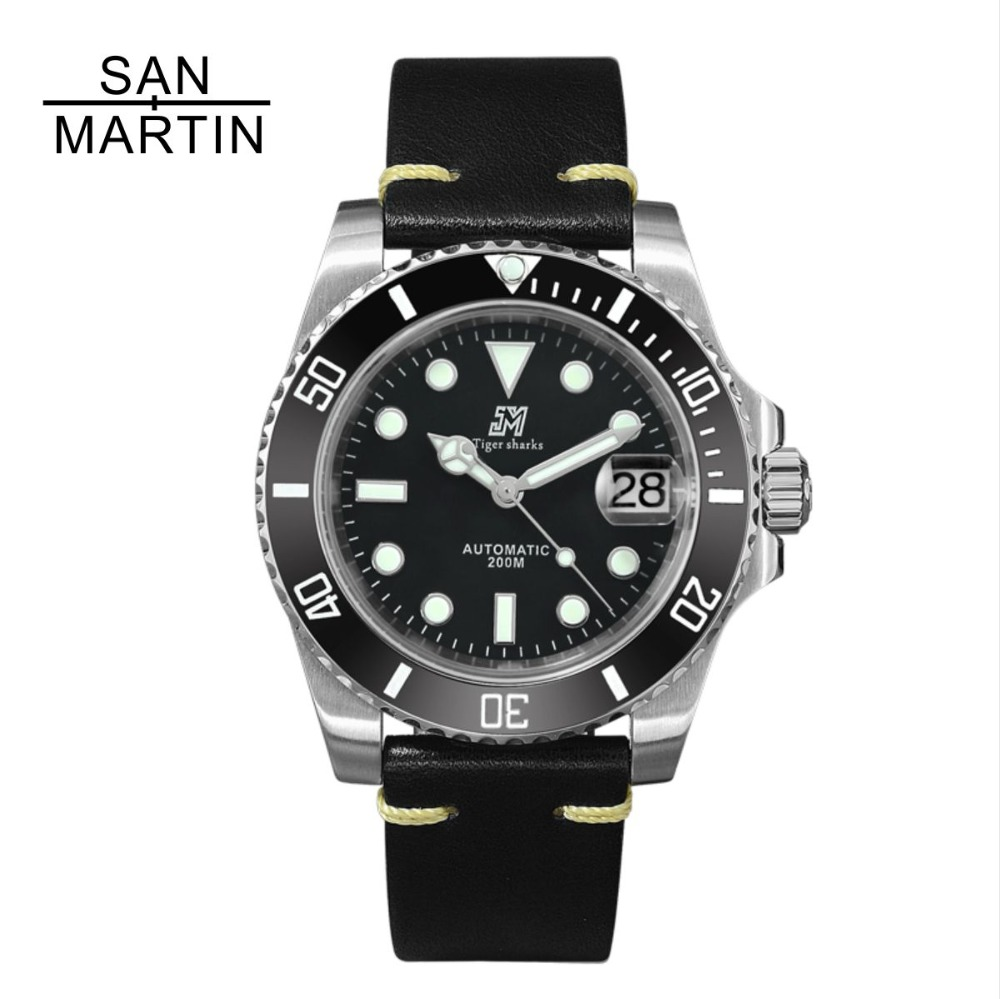 San Martin Women Men Automatic Watch Fashion Steel Watch 200
