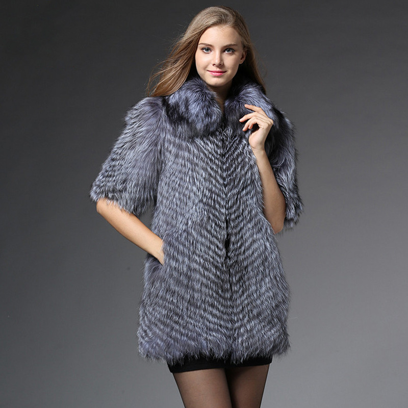 S 6XL New Fashion Medium and long fur Waistcoat female slim Faux Fox fur Coat female Coat Women Winter Raccoon fur Coat