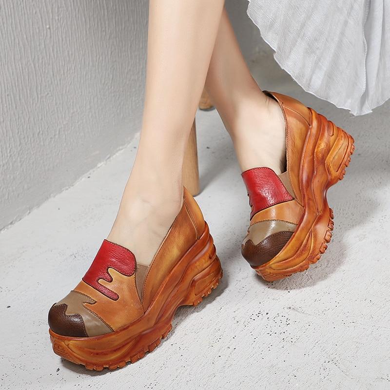 Women Pumps Shoes 2019 Multi color Hand Painted Patchwork Female High Platform Heel Shoes Original Leather