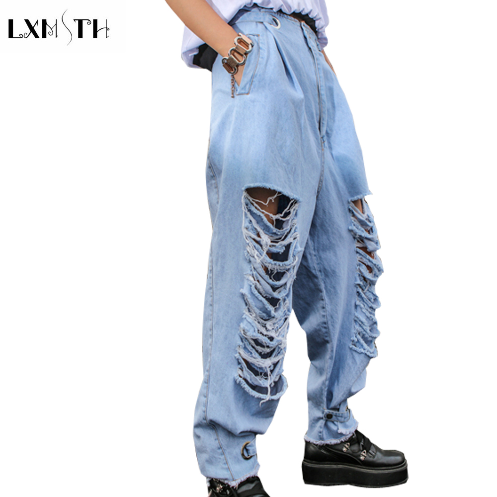 LXMSTH New Fashion Summer Hole Jeans Women 2018 Streetwear Casual Loose Washed Cross Jeans Pockets Button Denim Pants Plus Size