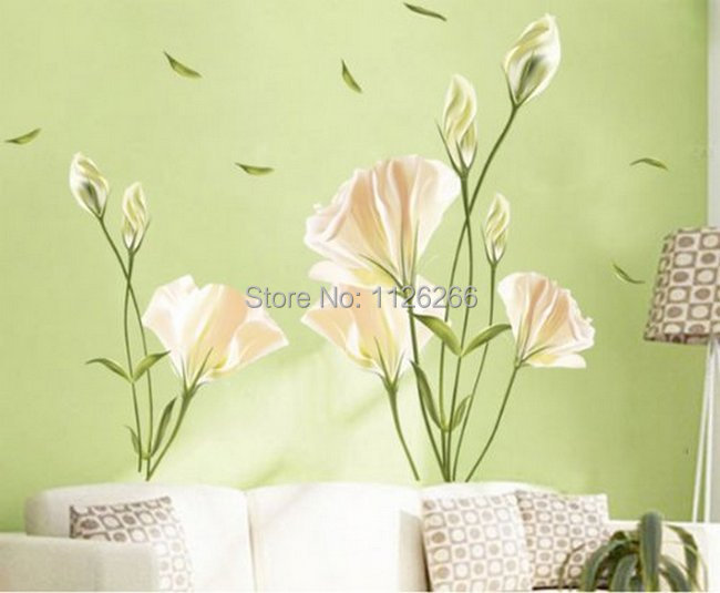 Large Flower Wall Decor : Large flower wall stickers home decor peel and stick