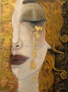 Картина Густава Климта «Золотые слезы», размножение маслом на холсте, ручная работа, красивая женская работа для декора стен, высокое качес...