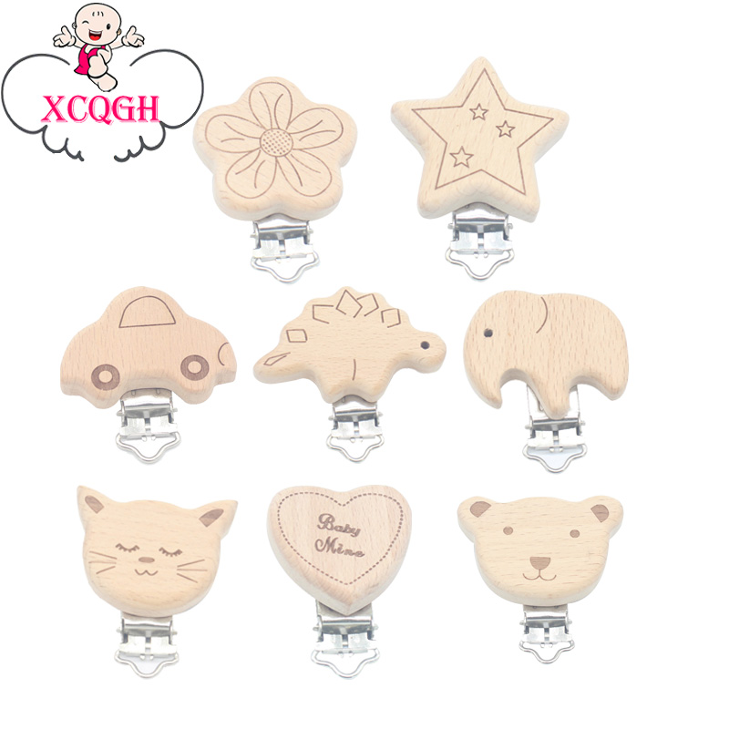 XCQGH 1PCS Wooden Cute Pattern Nipple Pacifier Holder Star Car Bear Cat Funny Pacifier Clips For DIY Nursing Teether Chain