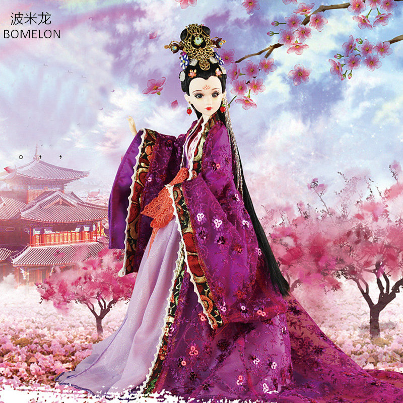 Original Chinese Costume Dolls 34CM Handmade Bjd Doll ZiYuan Beauty Doll 12 Jointed Articulated Doll Girl Toys Gift Brinquedos tang dynasty shangguan wan er 12jointed doll 31cm high end handmade chinese costume dolls limited collection bjd 1 6 moveable