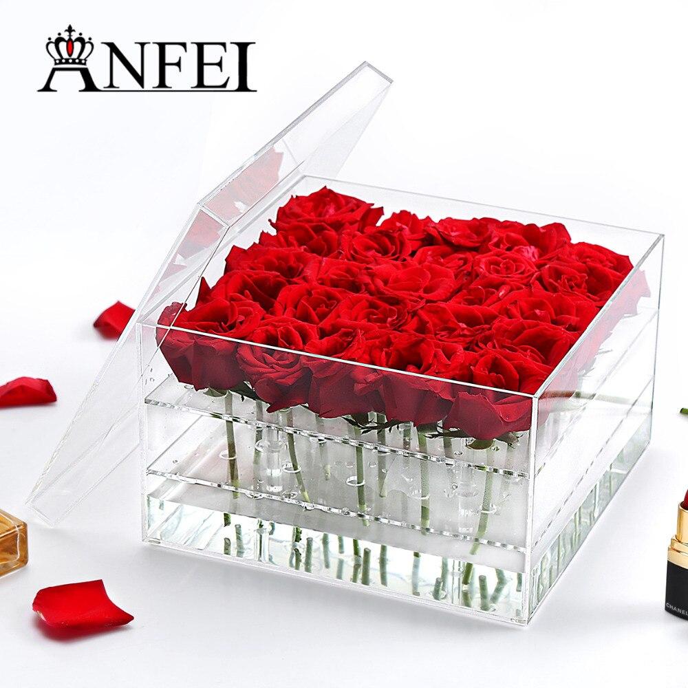 25 trous fait à la main emballage personnalisé acrylique fleur support de la boîte affichage clair cadeau Rose boîtes maquillage organisateur boîte cosmétique C217-3