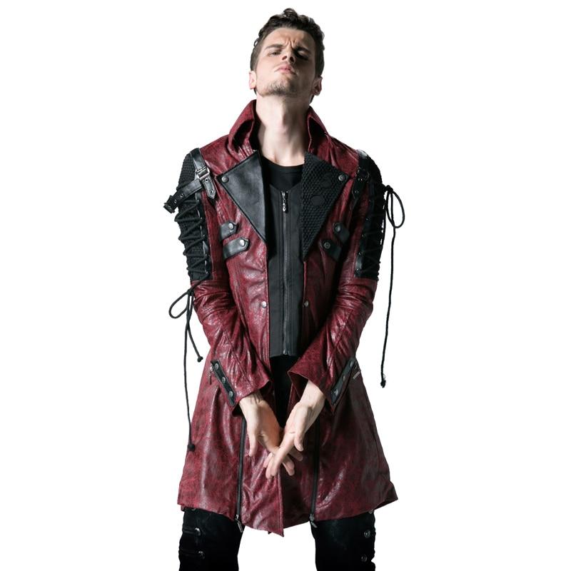 Gothic Retro Style Faux usnjeni dolgi plašči za moške Steampunk - Moška oblačila - Fotografija 4