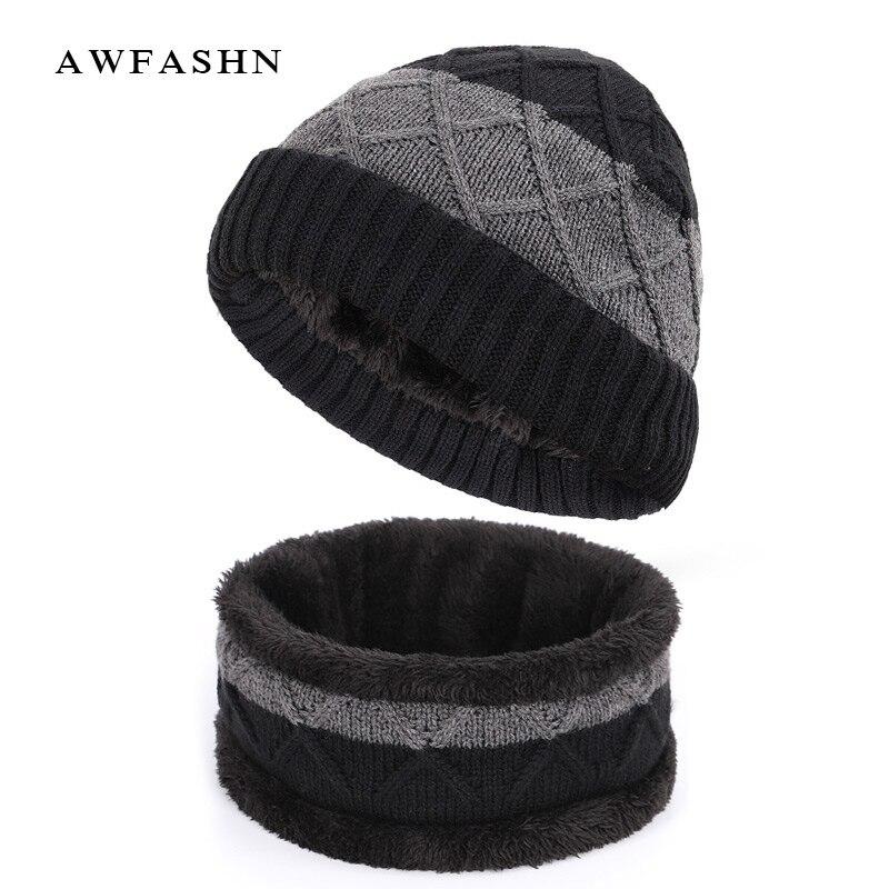 New Fashion Plaid Striped 2 Pieces Set Knit Beanie Hat Scarf Color Stitching Plus Velvet Thick Winter Cap Scarves Man Woman Warm