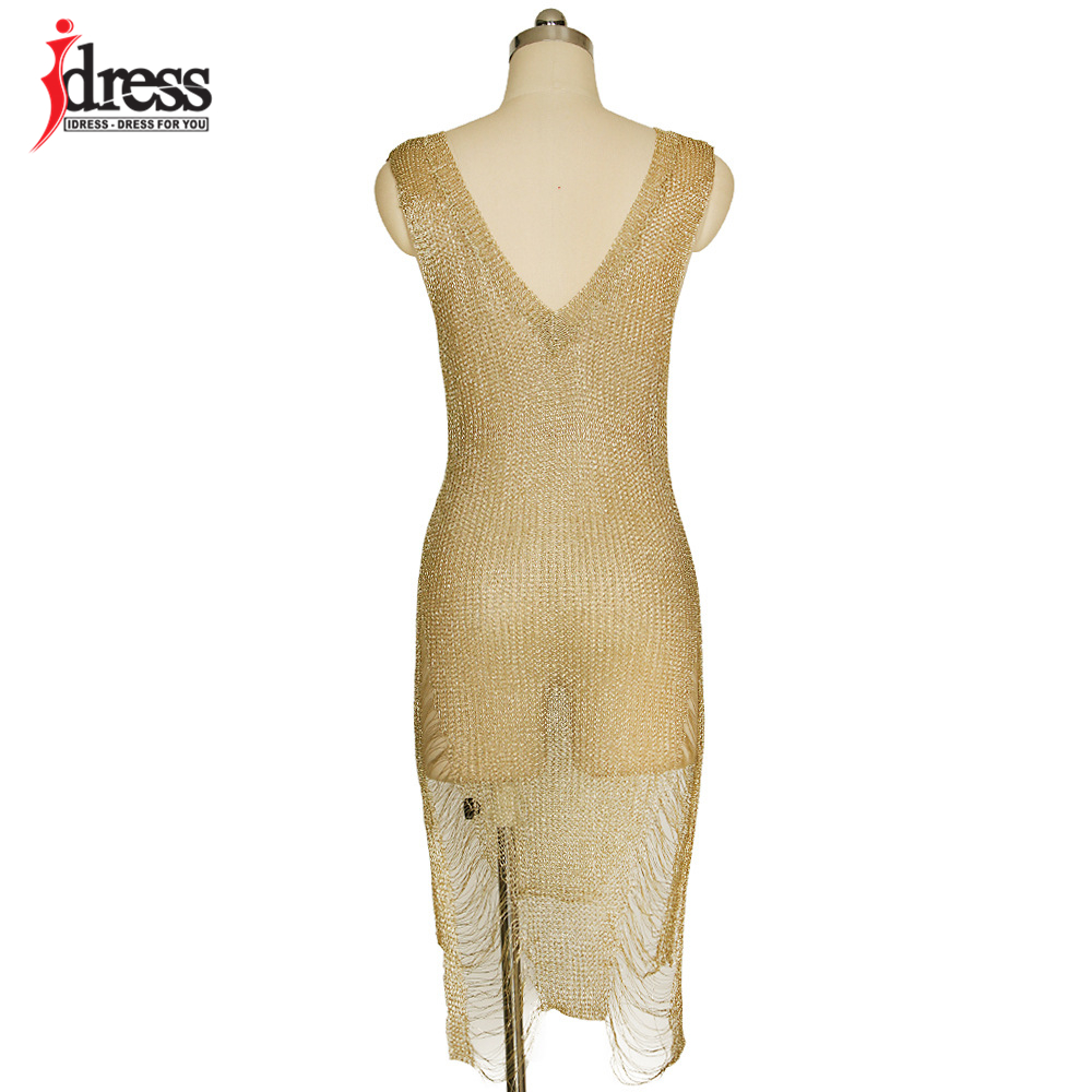 IDress 2017 Sexy Deep V Neck Hollow Out Golden String Knitting Summer Bodycon Women Dresses Sleeveless Mini Club Dress Vestidos (11)