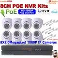 1080 P HD HDMI de Vídeo de Segurança sistema de Câmera 8ch NVR POE e 2.0mp Indoor Dome Night vision Plug and play IP Câmera de CCTV kit NVR