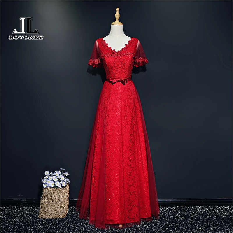 LOVONEY XYG809 Sexy Open Back Red Lace Long   Prom     Dresses   2019 Short Sleeve Beading Formal   Dress   Party Gown Vestido de Festa