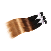 Megalook Pre Colored Ombre T1b4 27 Peruvian Straight Human Hair 3 Bundles Honey Blonde Remy Hair Weave Bundle Hair Extension