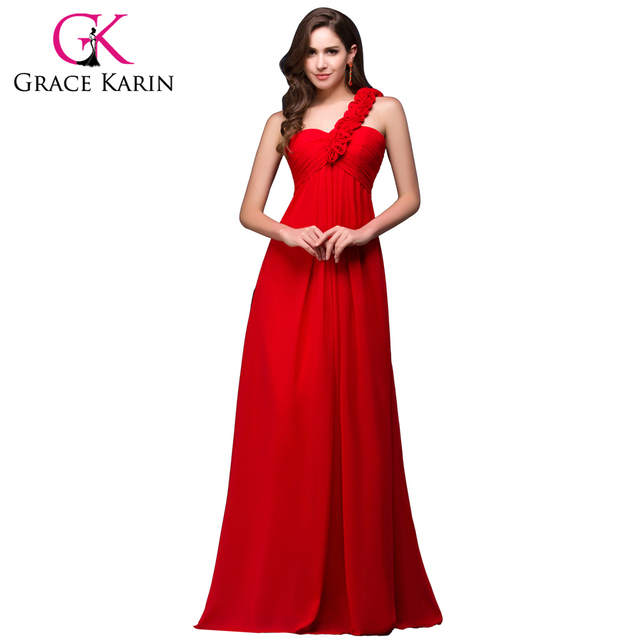 Grace Karin Cheap One Shoulder Long Red Bridesmaid Dresses Chiffon ...