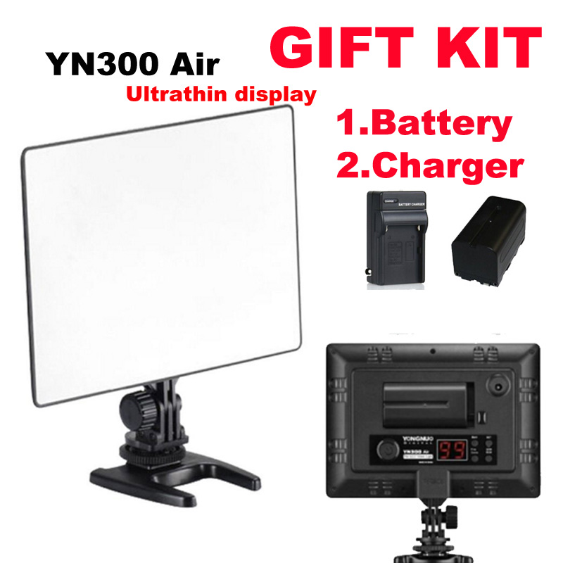 YONGNUO YN300 AIR Pro LED Camera Video Light For Canon Nikon + BATTERY + battery charger ac battery charger cradle for canon nb5l digital camera