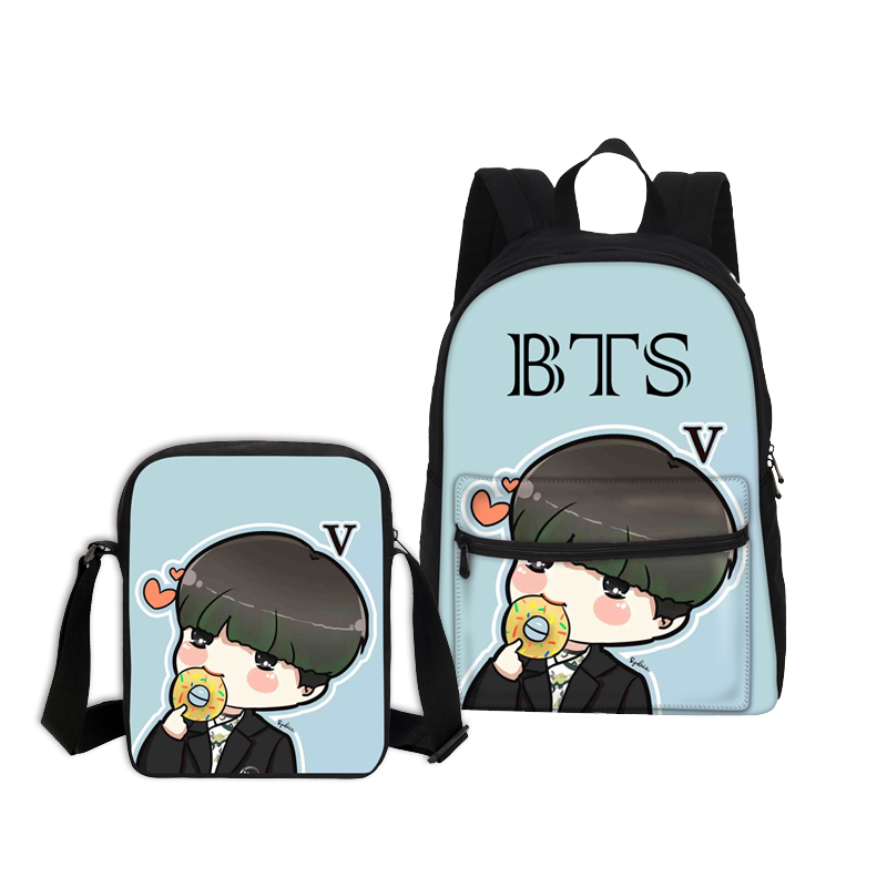VEEVANV 2PCS/SET Women School Bag Girls Canvas Backpack Cartoon Shoulder Bags Fashion 3D BTS Printing Backpack Children Bookbag hynes eagle 3 pcs set 3d letter bookbag boys backpacks school bags children shoulder bag mochila girls exo printing backpack