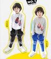 Meninos terno de algodão menino primavera e outono crianças pijamas de manga conjunto completo