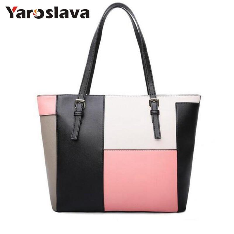 Bags 2018 women's handbag fashion brief tote color block casual handbag shoulder bags large women messenge bag LL357