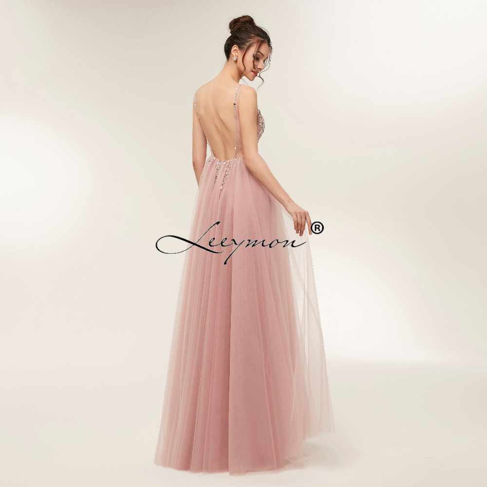 ᓂNew Design Deep V Neck Evening dress 2018 Sparkly Crystals Prom ...