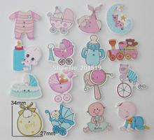 WBNWGE 100pcs Lovely baby buttons mix randomly patterns printed wood button garment accessories