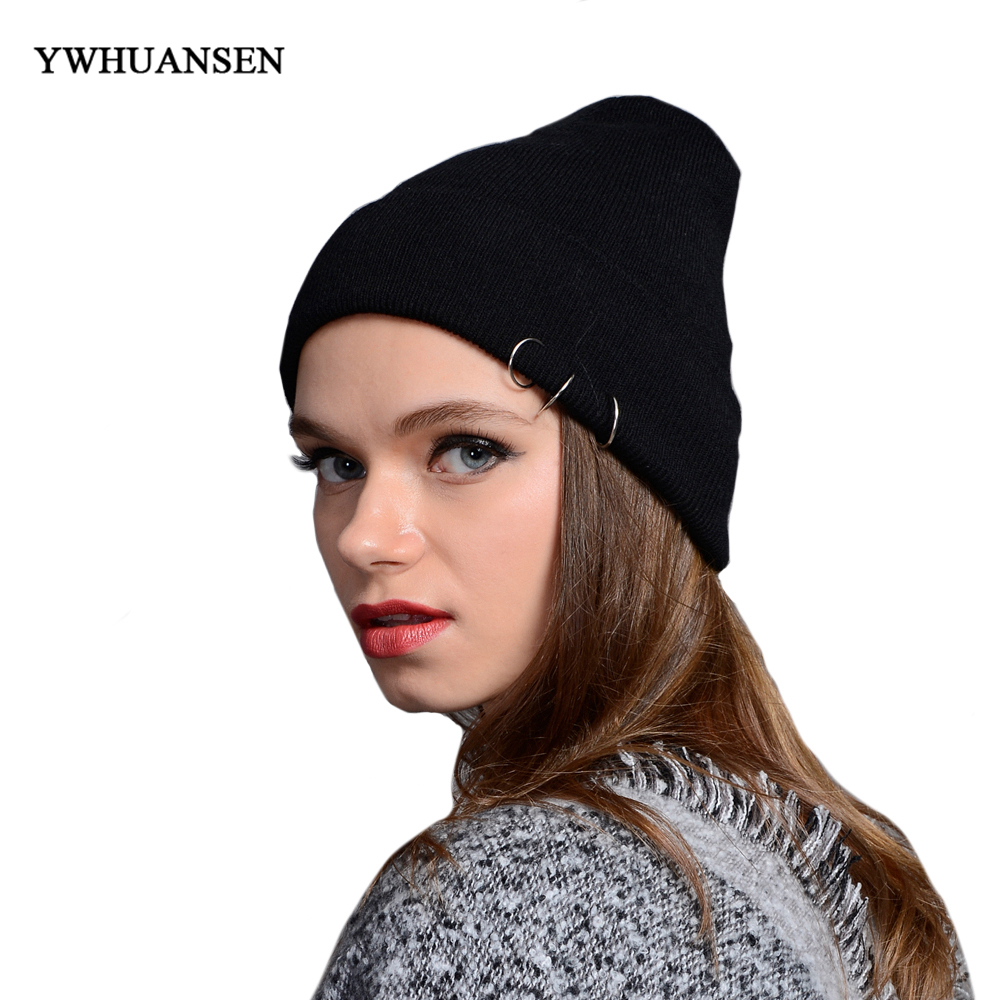 YWHUANSEN Iron Ring Women Men Skullies Beanies Caps Harajuku Lovers Knitted Hat Autumn Winter Crochet Female Gorros Bonnet Femme