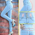 2016 Moda Primavera Mulheres De Cintura Alta Skinny Jeans Mulheres Único Breasted Alta Elastic Magro Calças Lápis além de calças Tamanho VENDA QUENTE