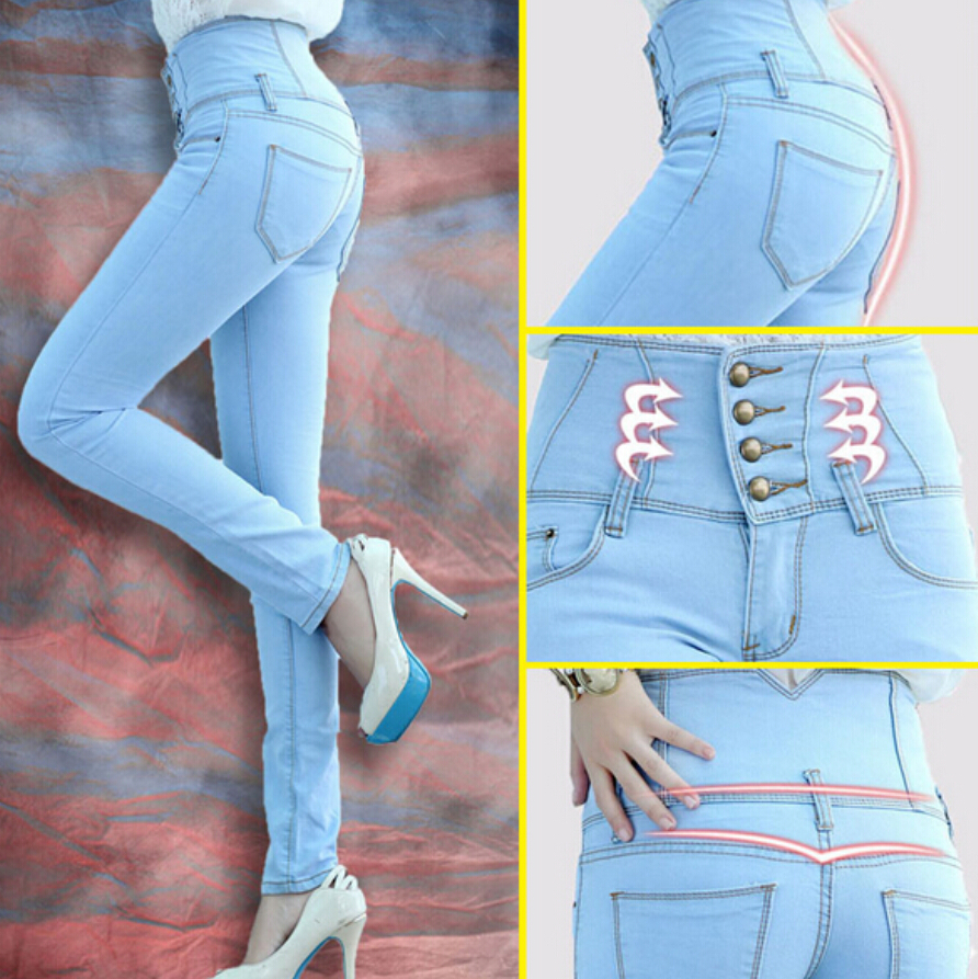 2017 Spring Fashion Women High Waist Skinny Jeans Women Single Breasted High Elastic Slim Pencil Pants plus Size HOT SALE hanlu spring hot fashion ladies denim pants plus size ultra elastic women high waist jeans skinny jeans pencil pants trousers