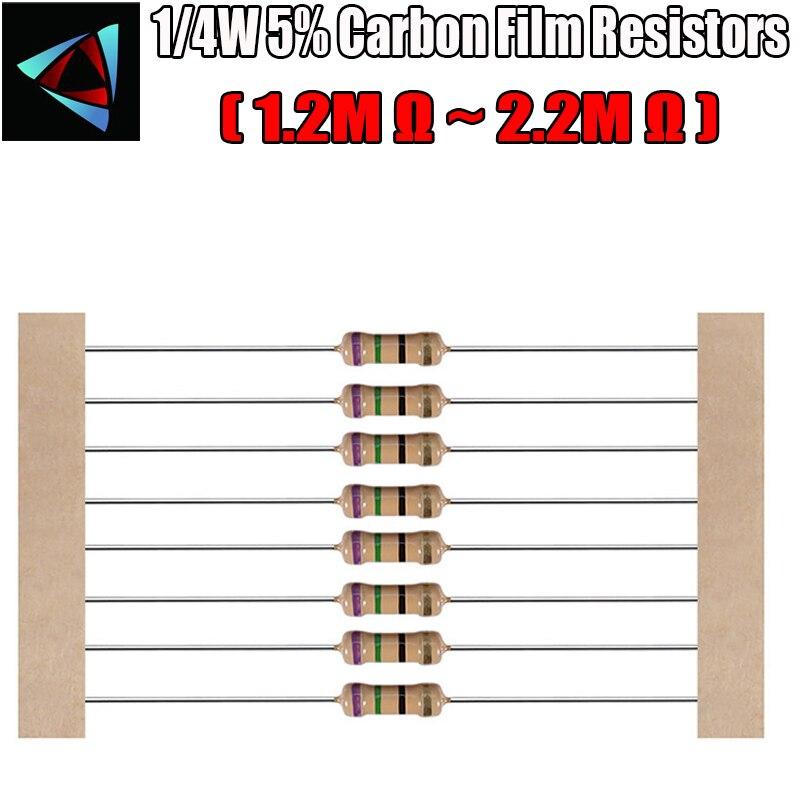 100pcs 1/4W 5% Carbon Film Resistor 1.2M 1.5M 1.8M 2M 2.2M Ohm