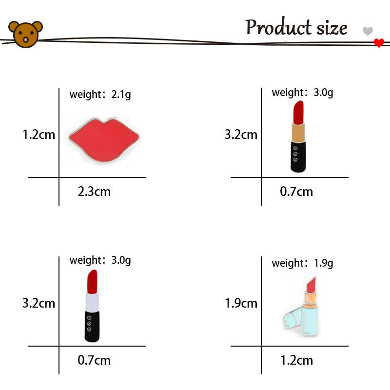 Kartun Lucu Lipstik dan Seksi Bibir Merah Bros Logam Enamel Pin Wanita Jaket Kerah Lencana Bros Kerah Pin Perhiasan Hadiah