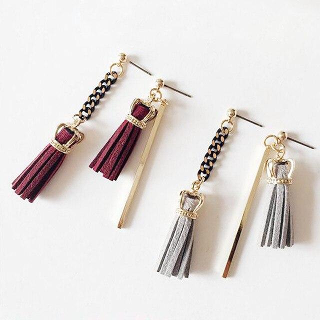 Ретро-Дизайн Серьги Асимметричные Позолоченные Ювелирные Изделия Корона Кисточкой Кожа Серьги Женщины Подарок EF151014
