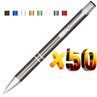 Lot 50pcs Oblique Top Dual Ring Metal Ball Pen,Color Anodized,Customize Logo Display Promotional Gift,Personalized Giveaway