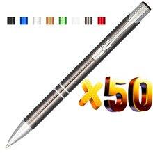 Lote pcs 50 Oblíquo Superior Duplo Anel de Metal Ball Pen, Cor Anodizado, Personaliza Logotipo Exibição Presente Relativo À Promoção, personalizado Oferta