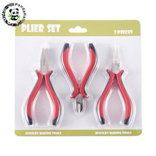 3pcs DIY Jewelry Tools Pliers Sets Ferronickel Round Nose Pliers/ Flat Nose Pliers/Side-Cutting Pliers115~120×65~70mm;
