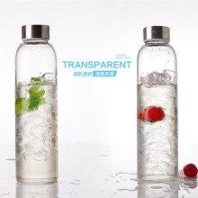 550 ML Einfache Transparente Versiegelung Kreative Tragbare Outdoor-sportarten Wasserflasche Glas Tasse mit Deckel und Tasche