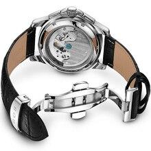 ANGELA BOS Ceramics Stainless Steel Skeleton Automatic Watch Mens Mechanical Waterproof Date Week Luminous Wrist Watches Men
