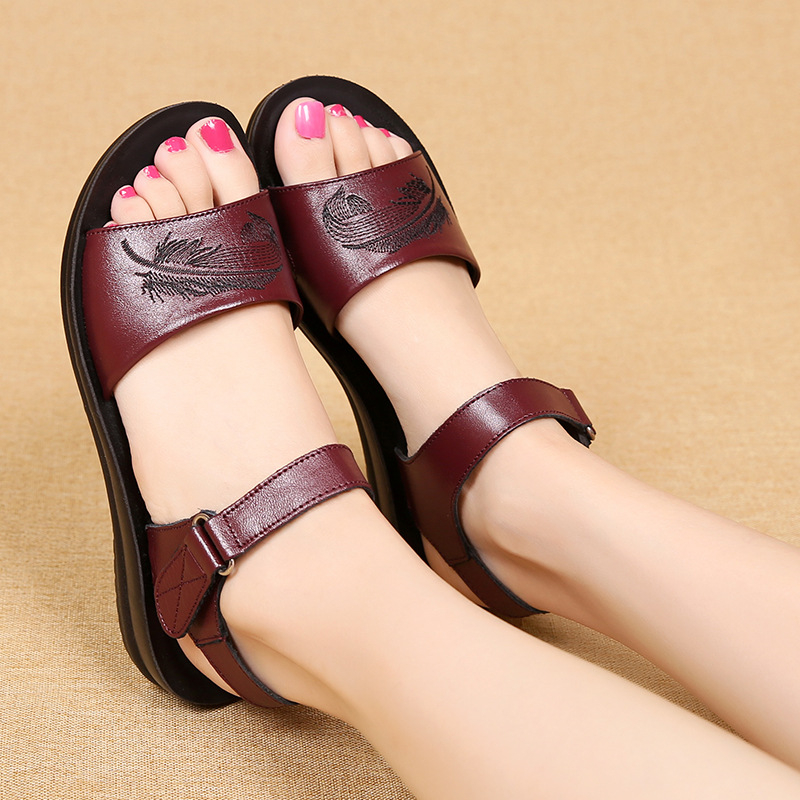 2018 new mother genuine leather sandals women flat soft bottom female sandals women summer shoes plus size 35-41 aiyuqi plus size 41 42 43 summer women s sandals 2018 new genuine leather female sandals fashion handmade shoes women