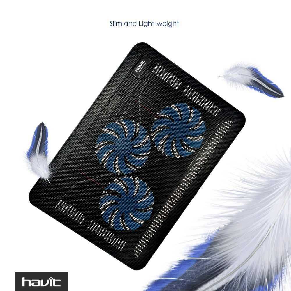 Охлаждающая подставка для ноутбука HAVIT HV-F2056. Кулер для ноутбука + 2 USB. Стильный тонкий дизайн, портативная работа от USB. 3 встроенных охлаждающих вентилятора.  2 дополнительных USB выхода.