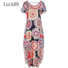 Leisure Beach Bohemian Dress Women Black Flower Print Long Dresses Spring Summer Slit Short Sleeve Vestidos Elegant Party Dress
