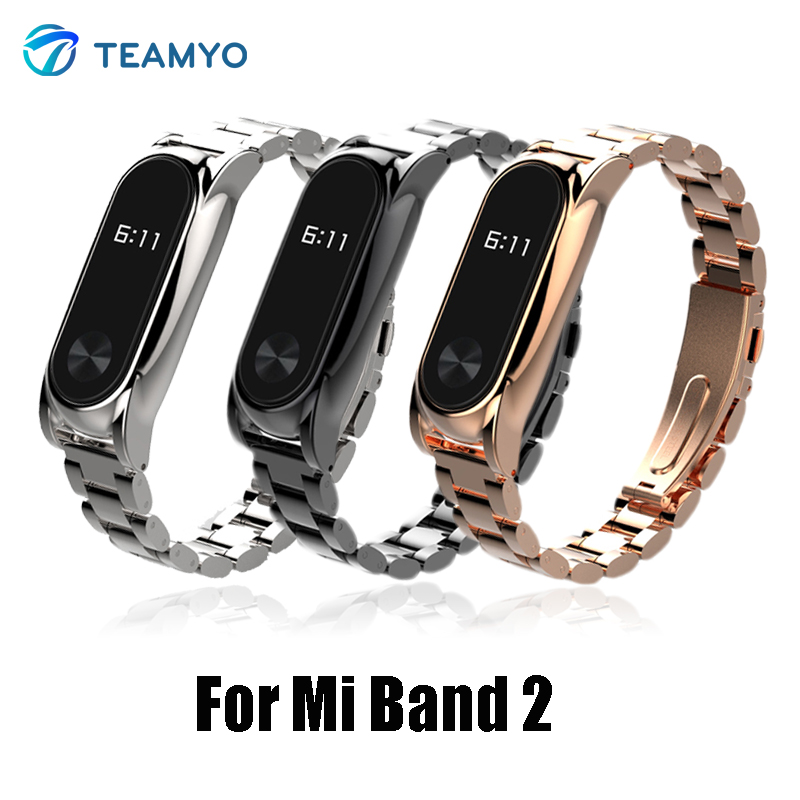 Teamyo Stainless Steel Metal Strap For Mi Band 2 Bracelet Replacement