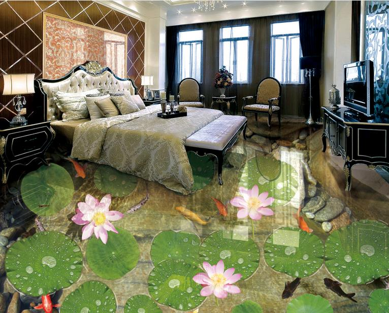 ФОТО pvc flooring adhesive custom 3d floor photo wallpaper Shitang Lotus Koi 3d mural pvc floor wallpapers for living room