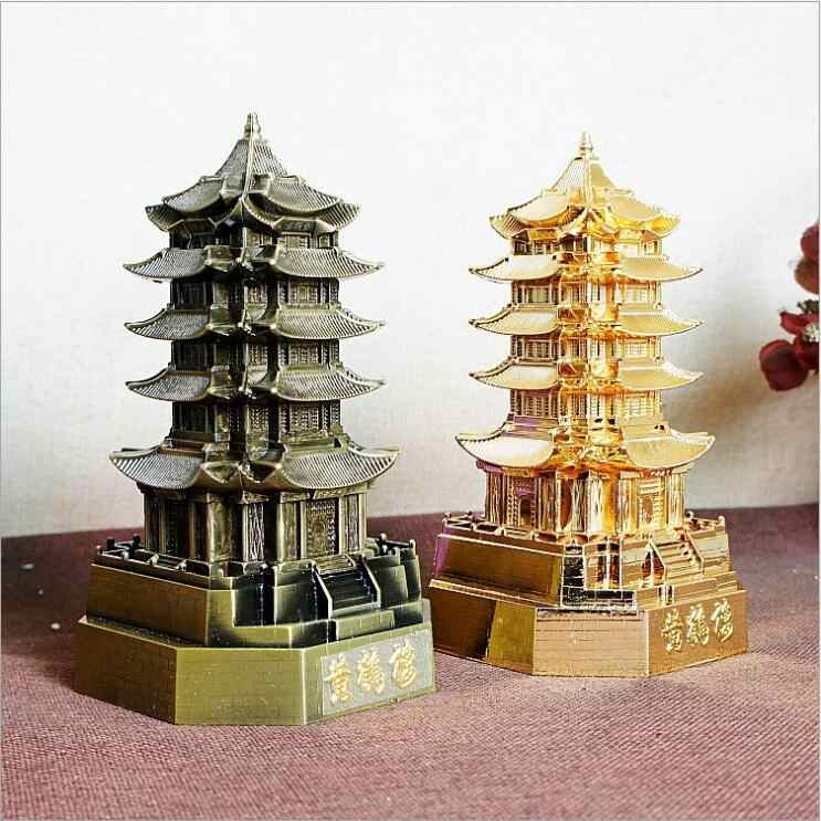 2018 Yellow Crane Tower Pagoda Model Decoration Vintage Alloy Crafts China Famous Building Feng Shui Home Decoration