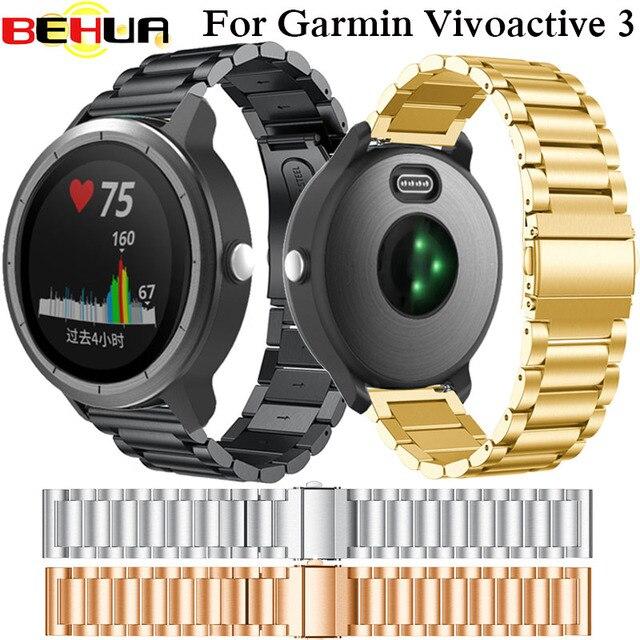 """20 מ""""מ רצועת השעון נירוסטה צמיד עבור Garmin Vivoactive 3 להקת שעון צמיד רצועת תחליף Garmin Vivoactive3"""