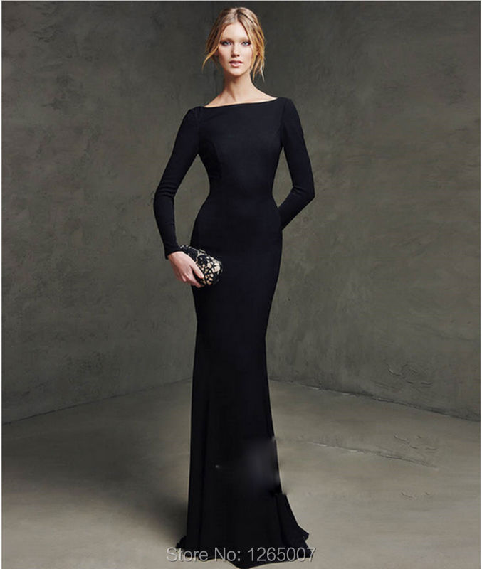 Elegant Long Sleeves Mermaid Evening Dresses 2016 Bateau Neck Open