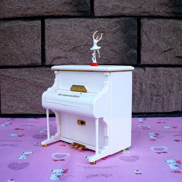 White Piano Music Box Jewelry Box Valentines day Lovers Gift