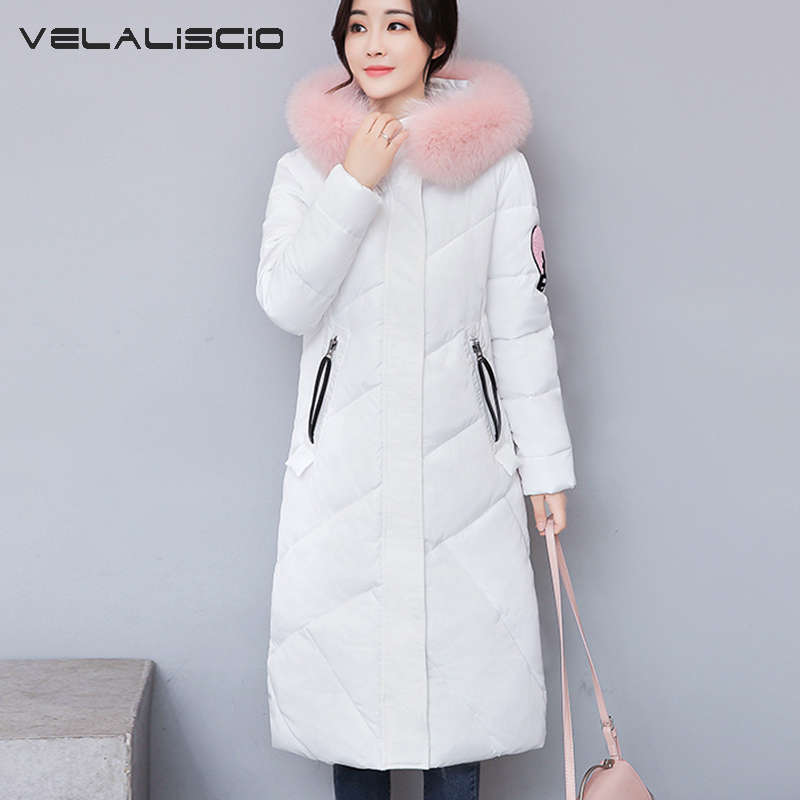 VELALISCIO 2017 Winter Jacket Down Jacket New Long Section Of Large Hair Collar Warm Thick Down Jacket Cotton Women Jacket 2014 winter new top 90 european stations velvet waist slim flouncing long section of a large swing down