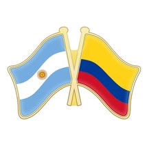 Argentina And Chad Chile China Christmas Island Cocos (Keeling) Islands  Colombia Crossed Flags Lapel