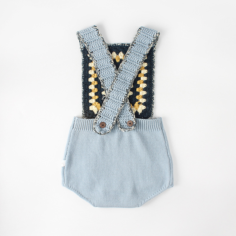 Newborn Baby Boy Girl Wool Blend Knitting Romper Kids Strap Jumpsuit Baby Warm Knit Sweater Rompers Infant Clothes