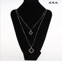 Двойной Слои черный четырехлистного клевера ожерелье женский цвета розового золота длинной цепочке кулон подарок на день рождения