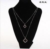 Double Couche noir trèfle à quatre feuilles collier femelle or rose À Longue chaîne pendentif cadeau d'anniversaire