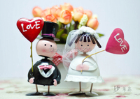 Cake Topper Wedding Blue Bride And Groom Carried LOVE Iron Set For Wedding Decoration