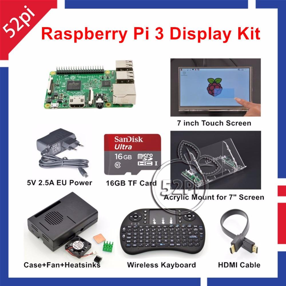 Prix pour Original Raspberry Pi 3 16 GB Starter Kit D'affichage avec 7 pouce 1024*600 Écran Tactile + 5 V 2.5A UE/ÉTATS-UNIS/ROYAUME-UNI/UA Alimentation