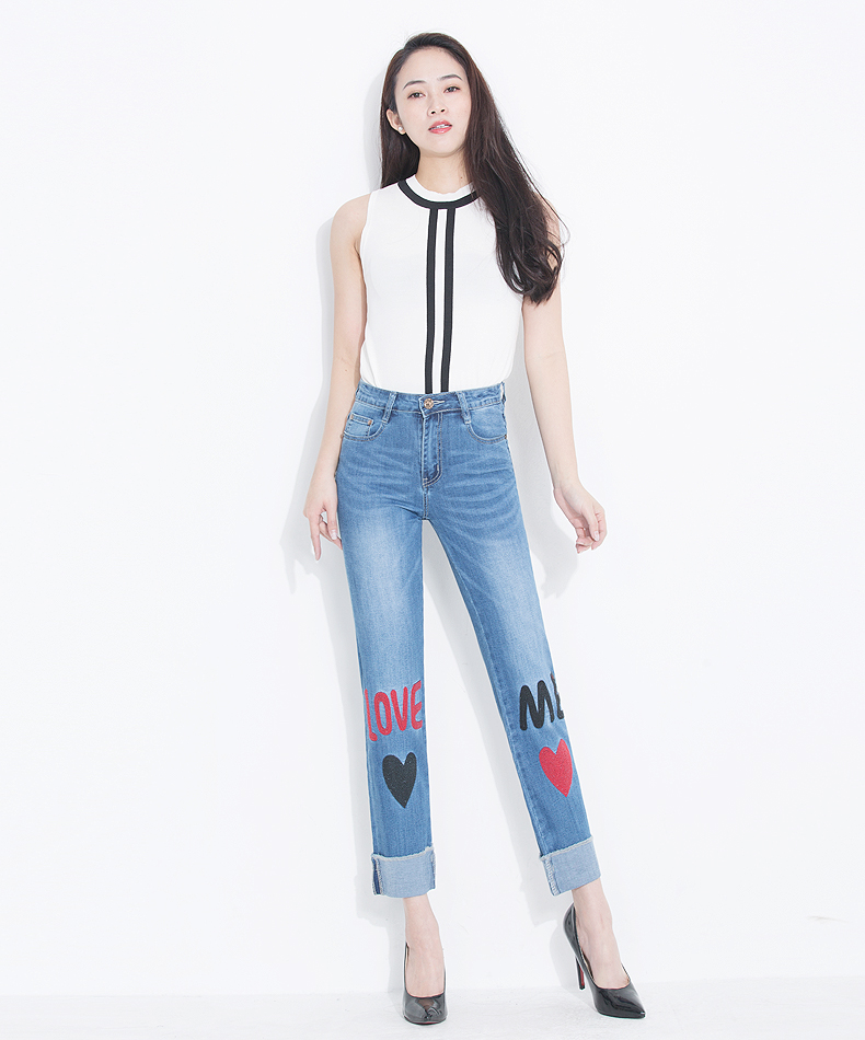 KSTUN FERZIGE Women Jeans 2018 Fashion High Waist Straight Slim Stretch Embroidery Letters Heat Pattern Pleated Cuffs Trousers Ankle 11